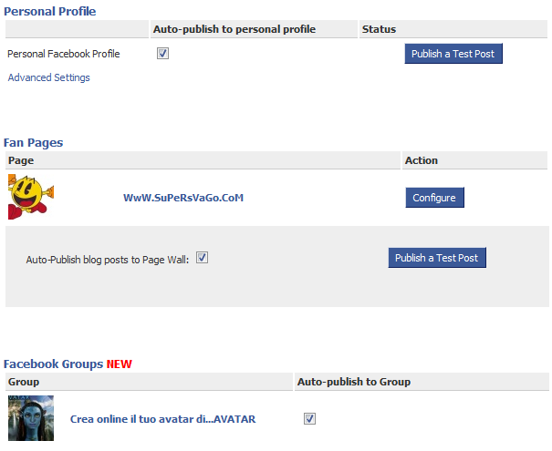 facebook feed rss automatico fan page