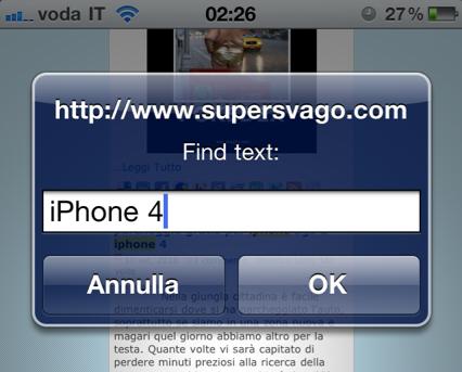 funzione cerca nella pagina iphone 4