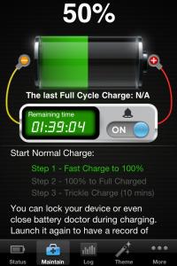 La schermata di carica di BatteryDoctor