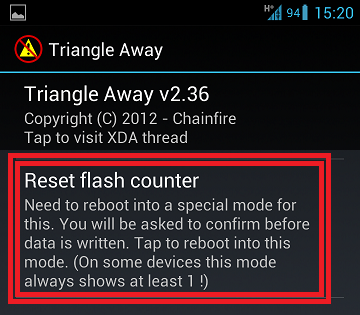 triangle away reset counter s3 galaxy